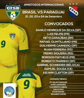 Jogadores pestanenses são convocados para a Seleção Brasileira de Futebol de Salão