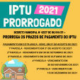 Município prorroga vencimento do IPTU 2021