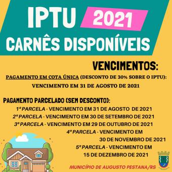Carnês do IPTU 2021 estão disponíveis