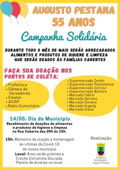 Augusto Pestana lança Campanha Solidária  em comemoração aos 55 anos do município