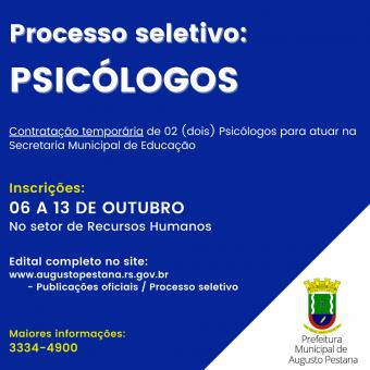Processo Seletivo para contratação de psicólogos