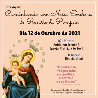 Caminhada de Nossa Senhora do Rosário será na próxima terça-feira