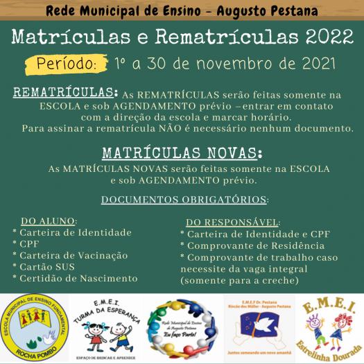 MATRÍCULAS E REMATRÍCULAS 2022